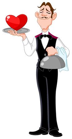 Classic butler serving a heart Vector