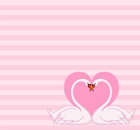 Swans love letter Stock Vector - 8767331