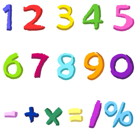 three colors: Colorful hand drawn numbers