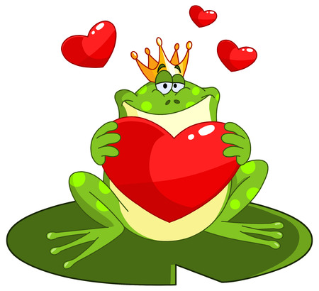 Frog prince holding a heart Vector