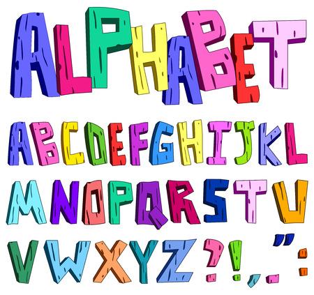 3d cartoon alphabet Vector