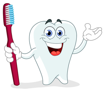 tooth root: Cartoon tooth holding a toothbrush
