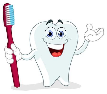 diente caries: Diente de dibujos animados con un cepillo de dientes Vectores