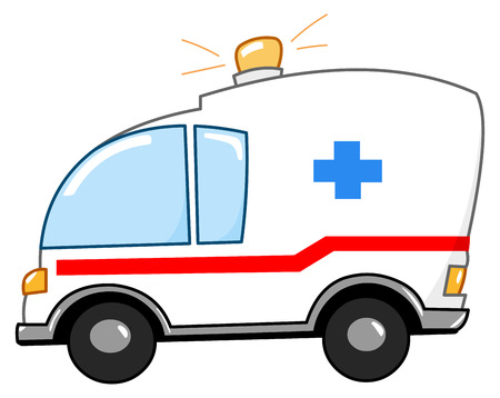 emergency vehicle: Cartone animato di ambulanza Vettoriali