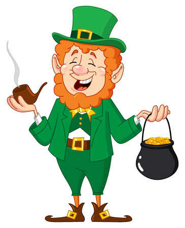 Leprechaun with smoking pipe and gold coin pot Ilustração