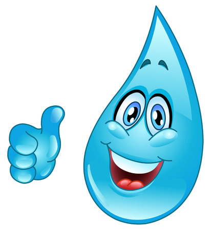 smiley pouce: Cartoon goutte d'eau