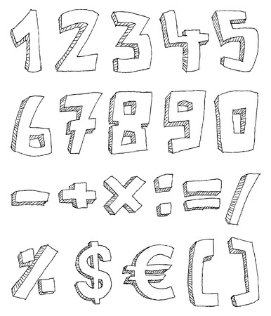 four hands: Vector hand drawn numbers and math signs