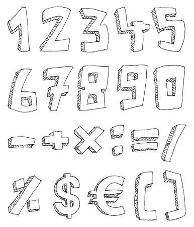signo pesos: Vector mano dibujados n�meros y signos de matem�ticas