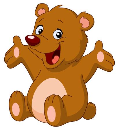 Happy teddy bear raising his arms Stock Vector - 9003010