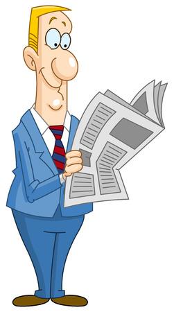 lezing: Smiley zakenman lezen van een krant Stock Illustratie