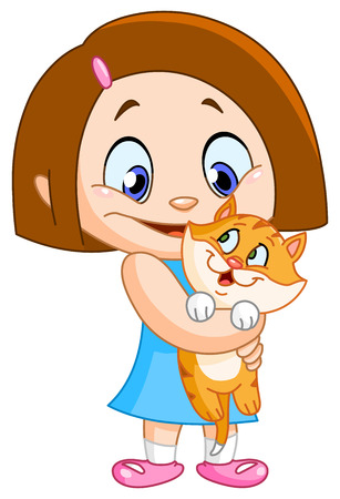 Little girl holding her kitten Stock Vector - 9068404
