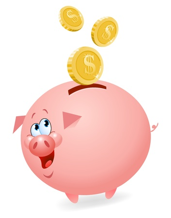 cash back: Piggy bank Illustration