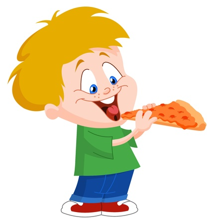 hungry kid: Cute boy eating pizza