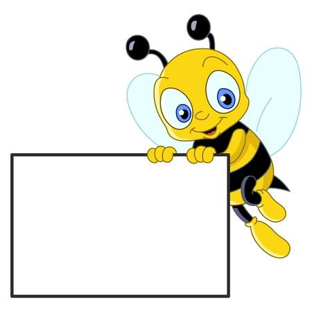 abeja caricatura: Abeja lindo sosteniendo un cartel en blanco Vectores
