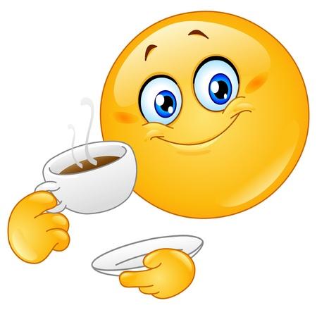 smiley: Emoticon drinken koffie Stock Illustratie