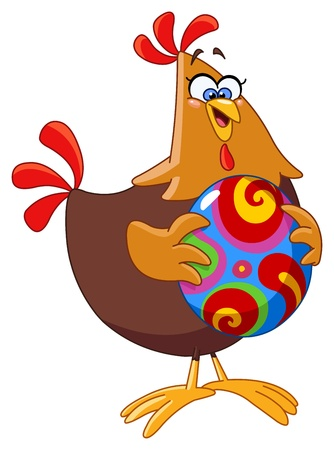 Cartoon chicken holding an easter egg Vector