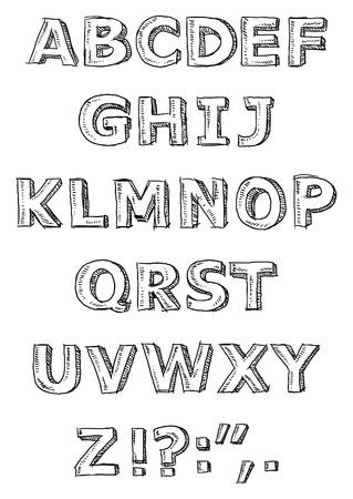 vieze handen: Vector hand geschreven alfabet Stock Illustratie