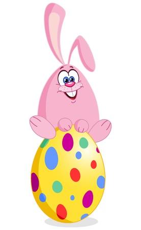 Cute bunny sitting on an easter egg Stock Vector - 9326600