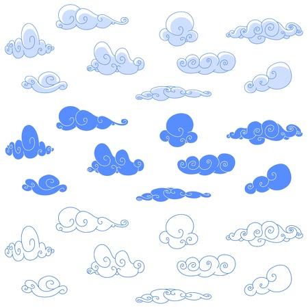 cumulus cloud: Nuvole stilizzati Vettoriali