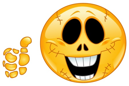 Skull emoticon with thumb up Vector
