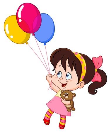 小さな女の子の風船で飛ぶ  イラスト・ベクター素材
