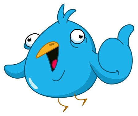 Funny blue bird showing thumb up Vector