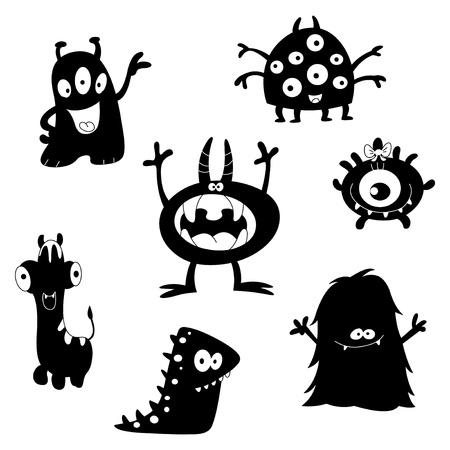 extraterrestres: Siluetas de monstruos divertido de dibujos animados  Vectores