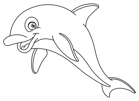 outline fish: Outlined dolphin