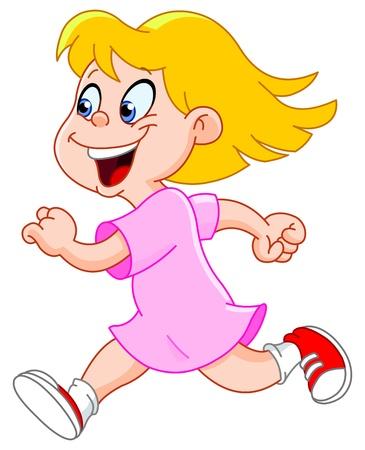 Little girl running Vector