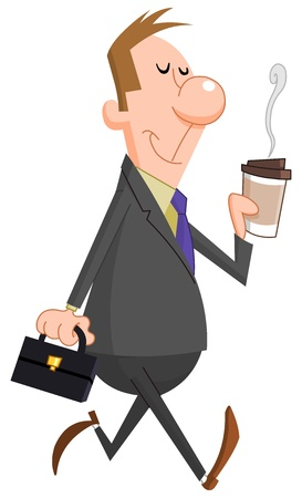 person walking: Businessman with paper coffee cup