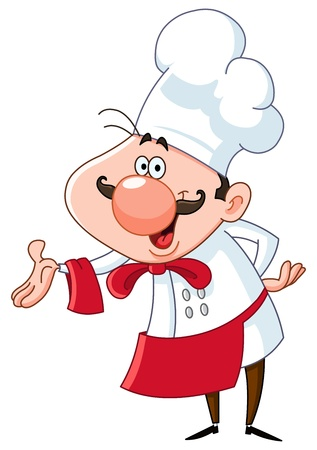 Friendly chef presenting with his hand Vector