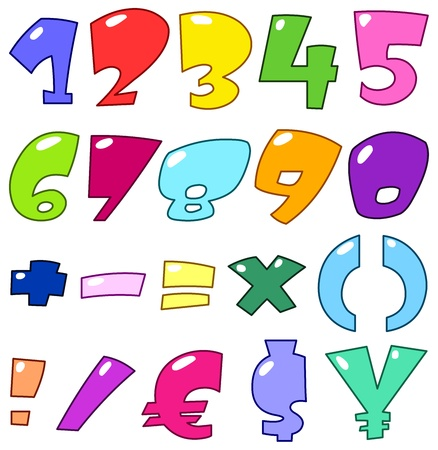 numeric character: Cartoon numbers and signs