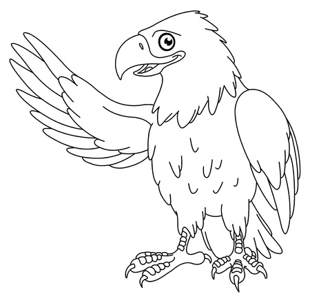 Outlined American bald eagle Vector