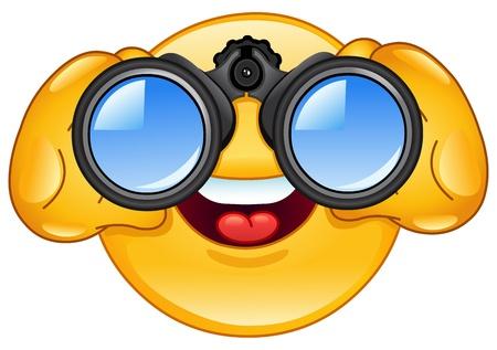 cara sonriente: Icono gestual mirando a trav�s de binoculares
