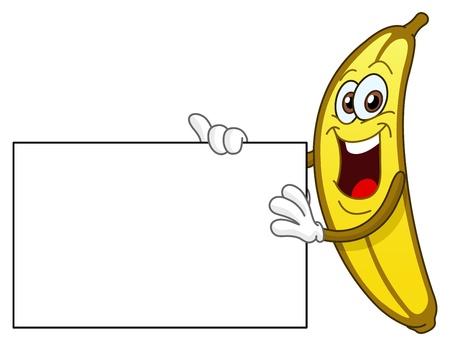 platano caricatura: Banana alegre celebraci�n un signo Vectores