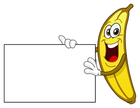 banaan cartoon: Vrolijke banaan houden een teken Stock Illustratie