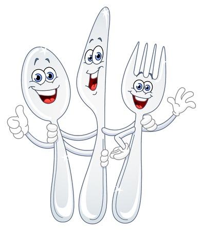 cubiertos de plata: Caricatura de cuchillo y tenedor de cuchara