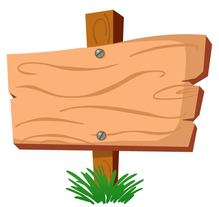 plywood: Blank wood sign Illustration