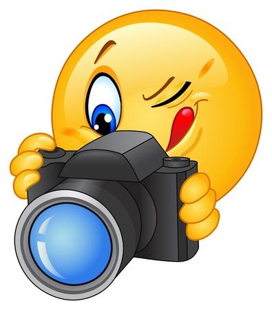 cara sonriente: Icono gestual tomar una foto Vectores