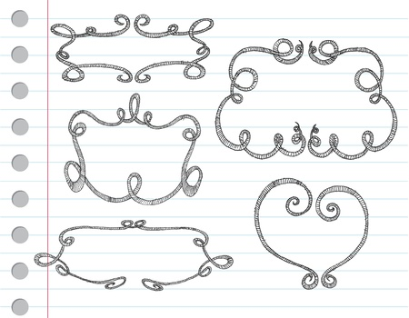 Vector hand drawn ornamental frames on a note paper Vector