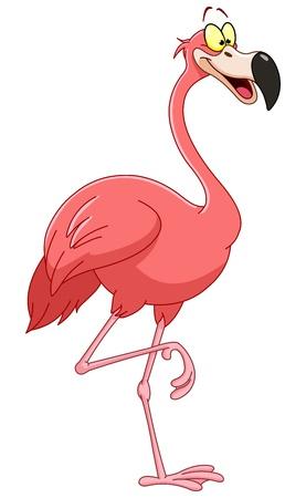 pajaro caricatura: Flamingo de dibujos animados