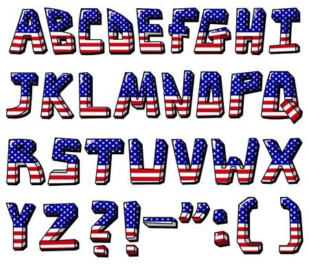 American flag font Stock Vector - 9722171