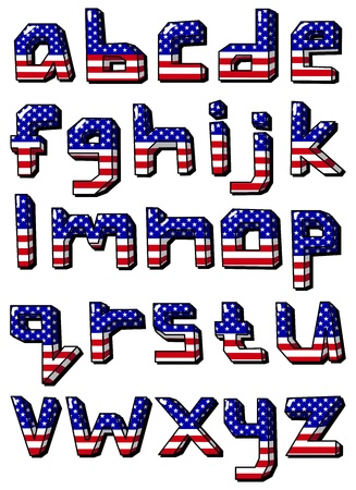 American flag small font Vector