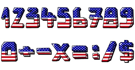 American flag numbers Vector