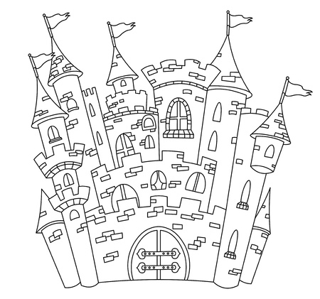 Outlined castle Stock Vector - 9722168