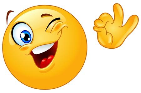 smiley pouce: Clin d'oeil emoticon montrant signe OK