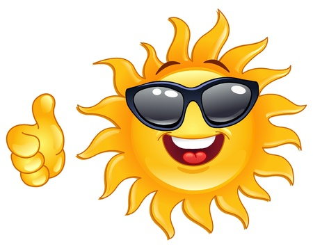sol caricatura: Sol sonriente aparece pulgar