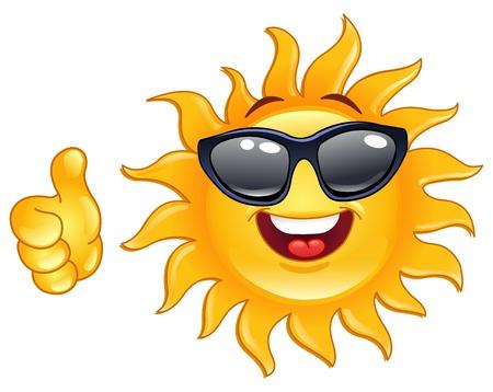 smiley pouce: Soleil souriant montrant les pouce