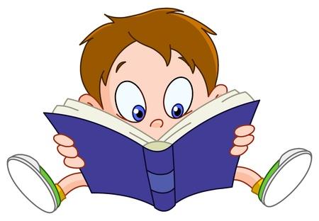 Jeune garçon, un livre de lecture.