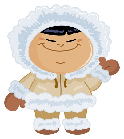 Eskimo kid waving hello Vector